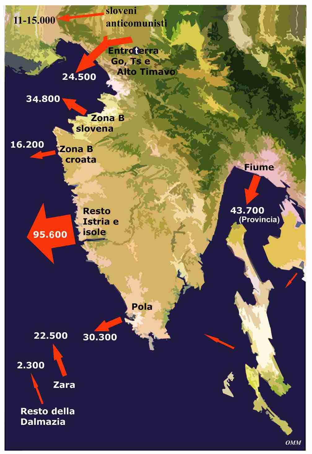 Cartina Italia orientale